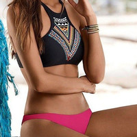 Halter Top and Reseo Bottom Bikini Set