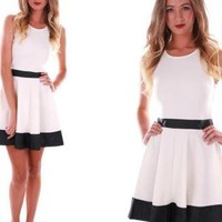 White Skater Dress with Black Trim