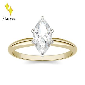 STARYEE 1.0CT Marquise Cut Moissanite Ring Real 18K Yellow Gold Engagement Diamond Fine Jewelry For Women Charles Colvard VS DEF
