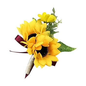 Boutonniere- Artificial Double Yellow Sunflower Boutonniere - Pick Ribbon Color