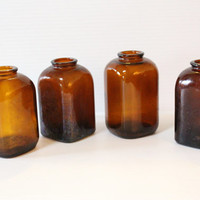 APOTHECARY JARS Vintage LOT four (4) Brown Bottles