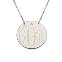 Swarovski Monogram Disc Necklace -  .925 Sterling Silver