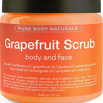 Grapefruit Scrub for Face and Body - Facial Scrub Exfoliator Cleans Acne-Prone Pores and Brightens Complexion