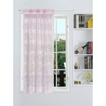 Flower Pattern Mesh Window Curtain 1pc