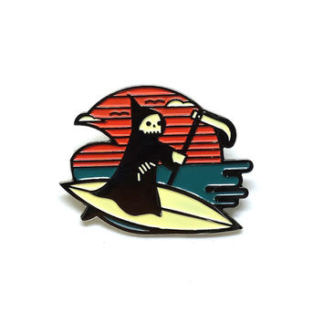 Life's a Beach Enamel Lapel Pin Badge // Summer inspired grim reaper surfing wave ocean surfboard skull gift
