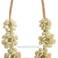 Ivory Rosette Statement Necklace