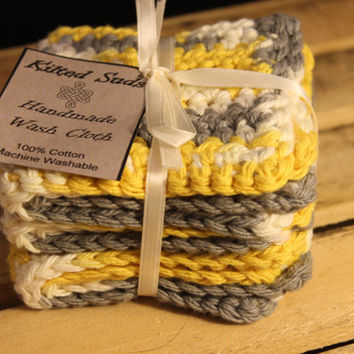 Cotton Washcloth, Crochet washcloth, Yellow Washcloth, Grey Washcloth, Gray Washcloth, Cotton Dishcloth, Crochet Dishcloth, Yellow Dishcloth