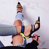 Pointy sandals for women in fashion come peep-toe sexy slim ultra-high heels with Roman pumps