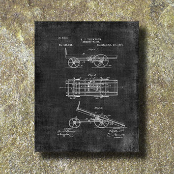 Dumping Wagon Patent Print Art Illustration Printable Instant Download Poster UP013gra