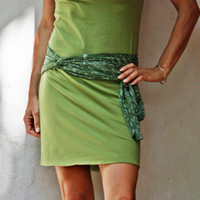 Short Summer Dress with fabric belt/scarf, Green dress