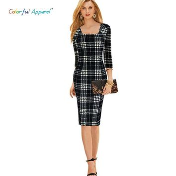 Colorful Apparel Women's Elegant Tartan Square Neck Tunic Wear To Work Business Casual Party Stretch  Sheath Dress