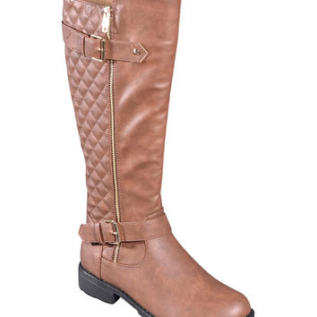 Tan Quilted Buckle Boot