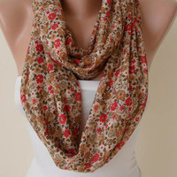 Infinity - Circle -  Loop Scarf - Honey and Flowered Fabric - Combed Cotton