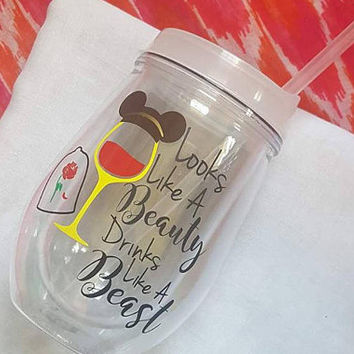 Disney Wine Glass, Belle, Look Like A Beauty Drink Like A Beast, Beauty And The Beast, Glitter Wine Glass , Food And Wine Festival Tumbler