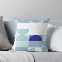 'Minimal Bauhaus Semi Circle Geometric Pattern 3 - Vintage Blues #bauhaus #minimal #pattern' Throw Pillow by Dominiquevari