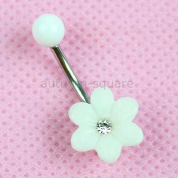 ac PEAPO2Q Free Shipping White Sunflower Navel Belly Button Rings Body Piercing Jewelly 1PC New