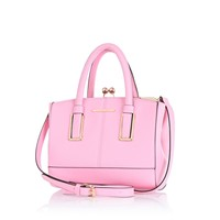 Light pink mini structured tote bag
