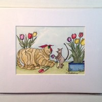 Painting of Cat, Watercolor, Original, Brown Cat, Tulips and Mouse