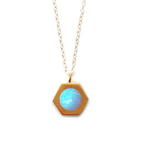 Gold Hex Pendant (blue opal inlay)