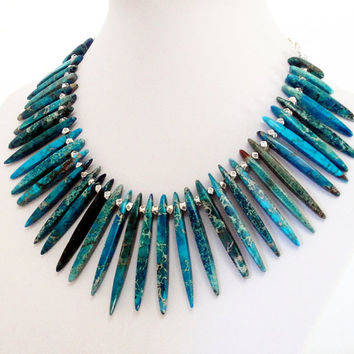 Blue Variscite Sticks Necklace, Large Blue Sea Sediment Spikes Chunky Statement Silver Necklace