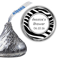 Zebra Themed Baby Shower Hershey Kiss Labels