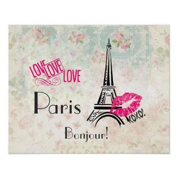Love Paris with Eiffel Tower on Vintage Pattern Poster