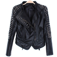 Motorcycle Leather Jackets Rivet Punk Accents