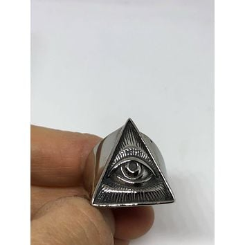 Vintage 1980's Gothic Stainless Steel Illuminati Eye Pyramid Men's Ring