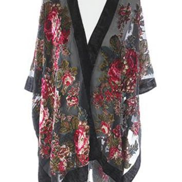 Poncho Flower Print Cover Up Velvety Finish Sheer Fabric