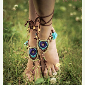 BLACK FRIDAY SALE Barefoot Sandals Tribal Peacock Czech Beads Crochet Foot Jewelry Hippie Festival Wear Yoga Beach Boho Anklet Destination