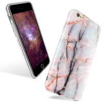 iPhone 6 / iPhone 6s Soft Back Case,JUN-Q® [Rose Quartz]Damask Color Stitching Slim Fit Case Cover Marble Pattern Texture Soft Plastic Clear Case for Apple iPhone 6s/iPhone 6