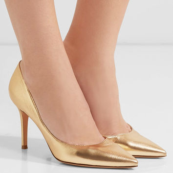 Gianvito Rossi - 85 metallic leather pumps