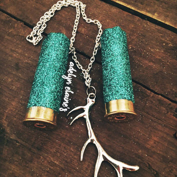 12 Gauge Shotgun Shell Rear View Mirror Hanger- Turquoise Glitter Shotgun Shells and a silver Deer Antler Charm