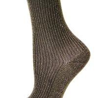 Women's Topshop Ribbed Glitter Ankle Socks