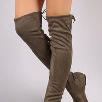 Back Lace Up Over-The-Knee Suede Flat Boots