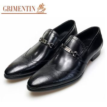 Menleather Shoes Casual UK Fashion Vintage Wingtip Slip On Shoes Men Wedding Party