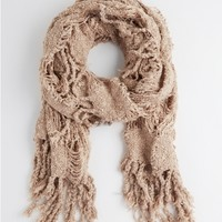 Taupe Plaid Cut-Out Knit Scarf