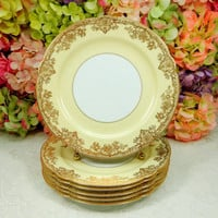 6 Beautiful Vintage Noritake Porcelain Dinner Plates ~ Gastonia ~ Gold Encrusted