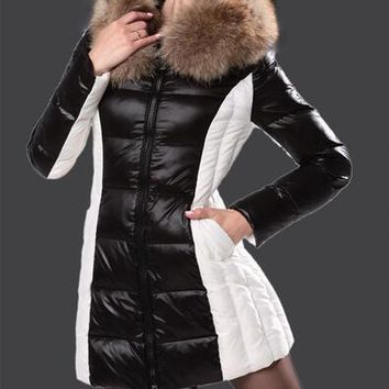 Moncler Imin Long brown white Quilted Puffer Coat Black