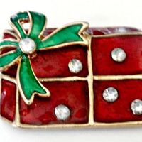 Vintage red and green enamel and rhinestone Christmas gifts brooch antique retro Christmas holiday Christmas present fashion pin