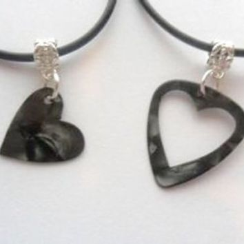 Black guitar pick necklace his and her's heart set, heart best friends set | eBay