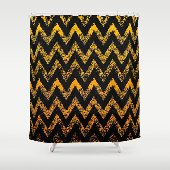 Black And Gold Chevron Shower Curtain By From Society6 Shower
