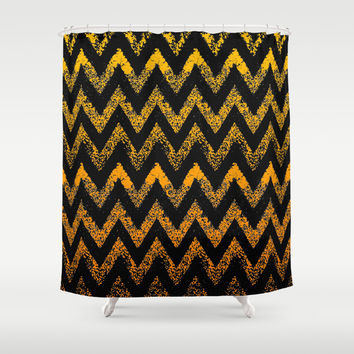 black and gold chevron Shower Curtain by Marianna Tankelevich