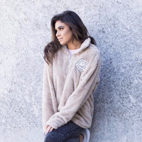 Tan Sherpa Quarter Zip Fleece