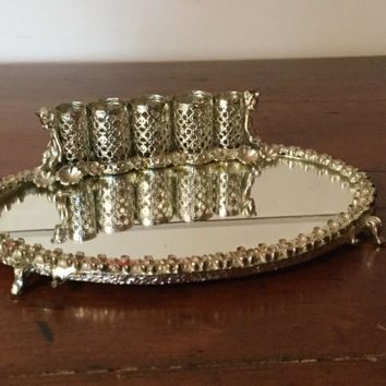 Vintage Metal Listick Holder,Mirrored Lipstick Holder,Vanity Accessories,Makeup Organizer