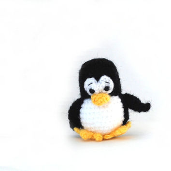 crochet tiny penguin, small penguin, Tux, the Linux mascot, Linux penguin, amigurumi penguin, miniature animal, soft little doll