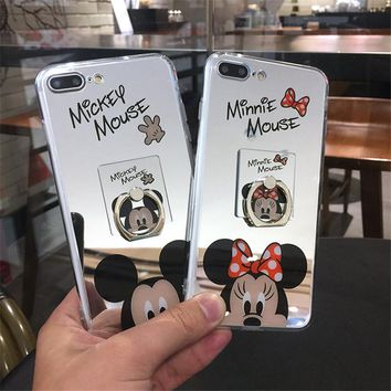 Cute Cartoon Minnie Mirror Silicone Cases for iPhone X 6 6s Cover TPU Coque Mickey Mouse Caser for iPhone 7 8 Plus Phone Shell