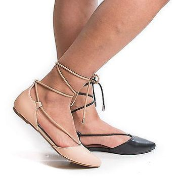 Sequel04S Nude By Bamboo, D'Orsay Pointy Toe Ankle Wrap Lace Up Tie Ballet Flat