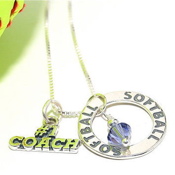 Softball Coach 3 Charm Necklace. Softball Ring Charm, Number 1 Coach, and Crystal of Choice. Sterling Silver.