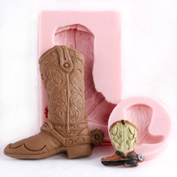 Cowboy Boot Silicone Mold Set - Food Safe Mold for Fondant, Chocolate, Ice, Gum Paste, Candy flexible mould easy to use.